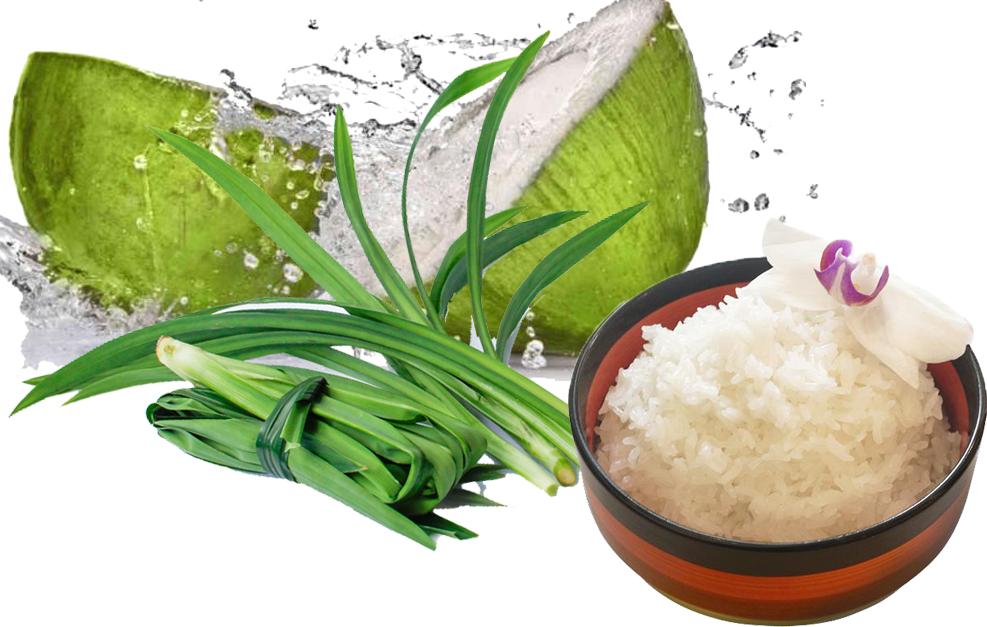 Nấu cơm bằng nước dừa và lá dứa