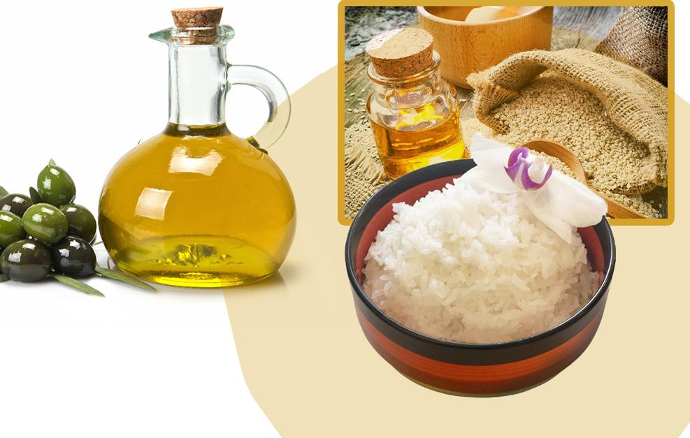 Dầu mè hoặc dầu ôliu sẽ giúp cơm mềm mại, sáng bóng.